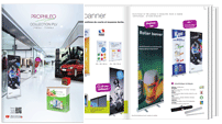 Catalogue PLV, winflag, roller banner