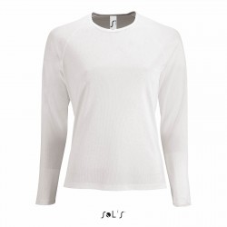 Tee-shirt respirant manches longues femme 140 g blanc